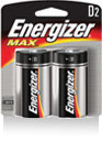 Energizer+ MAX+ D Everyday Use Alkaline Battery (2 Per Package)