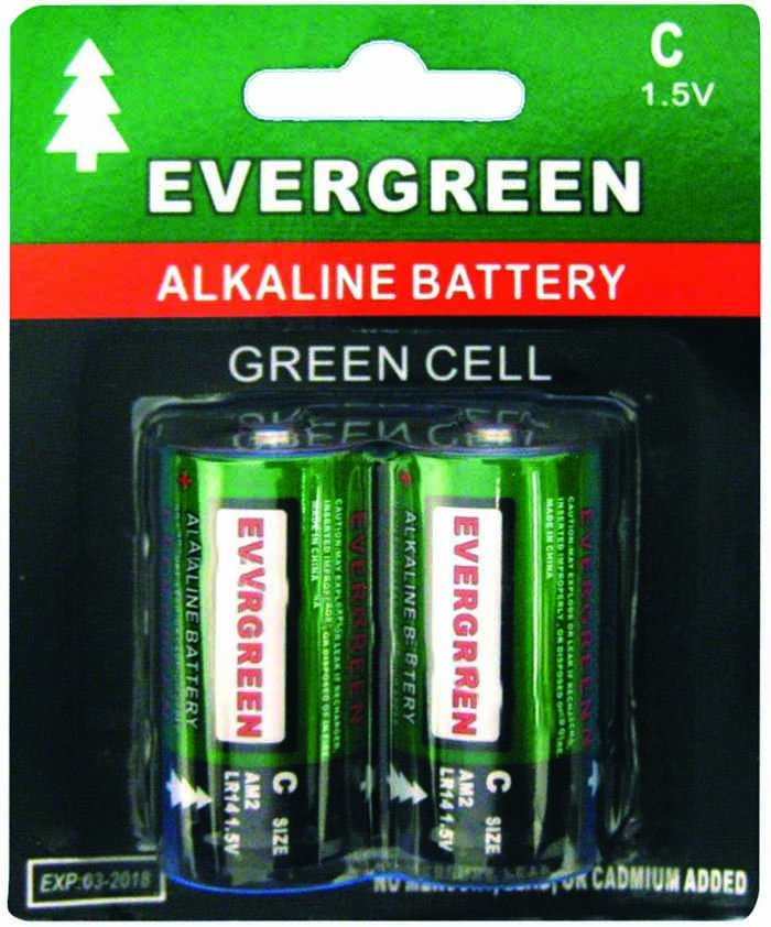 C BATTERY ALKALINE 2 PC/CARDED