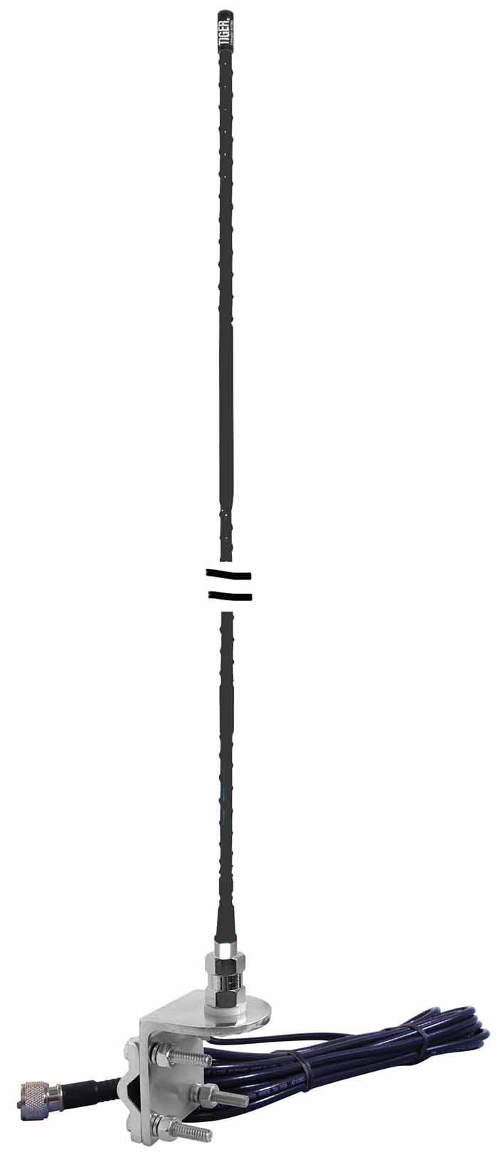 4' FIBERGLASS NO GROUND MIRROR MOUNT ANTENNA BLACK