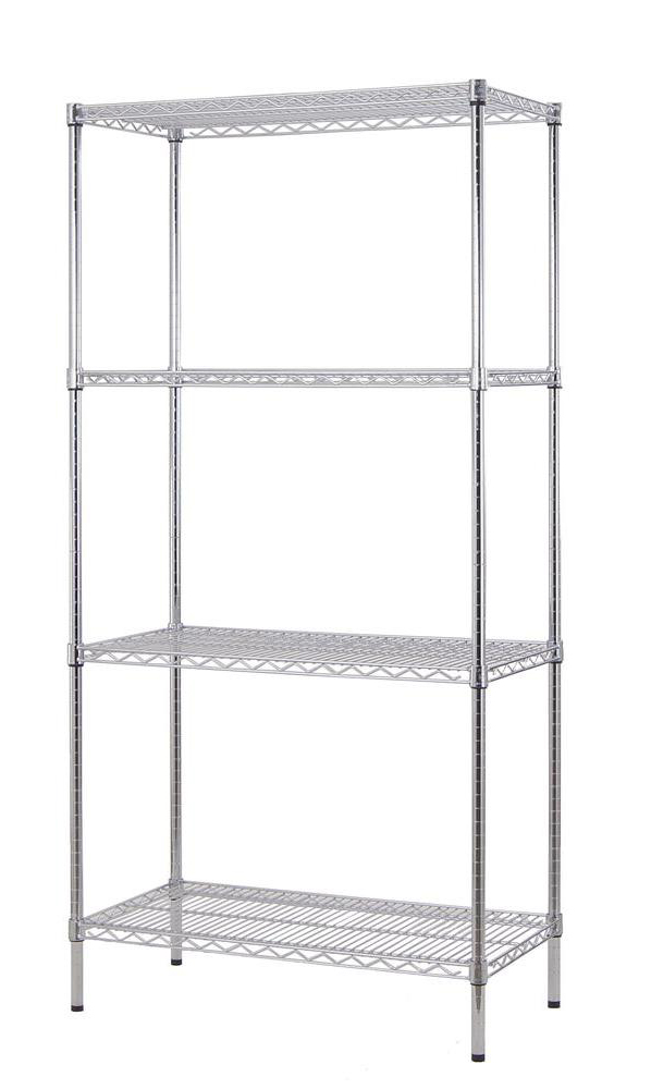 "Excel NSF Certified Multi Purpose 4-Tier 36"" Wide Chrome Shelving Rack"
