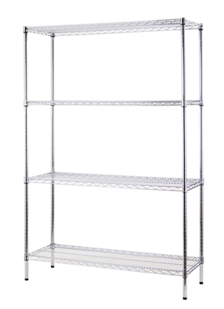 "Excel NSF Certified Multi Purpose 4-Tier 48"" Wide Chrome Shelving Rack"