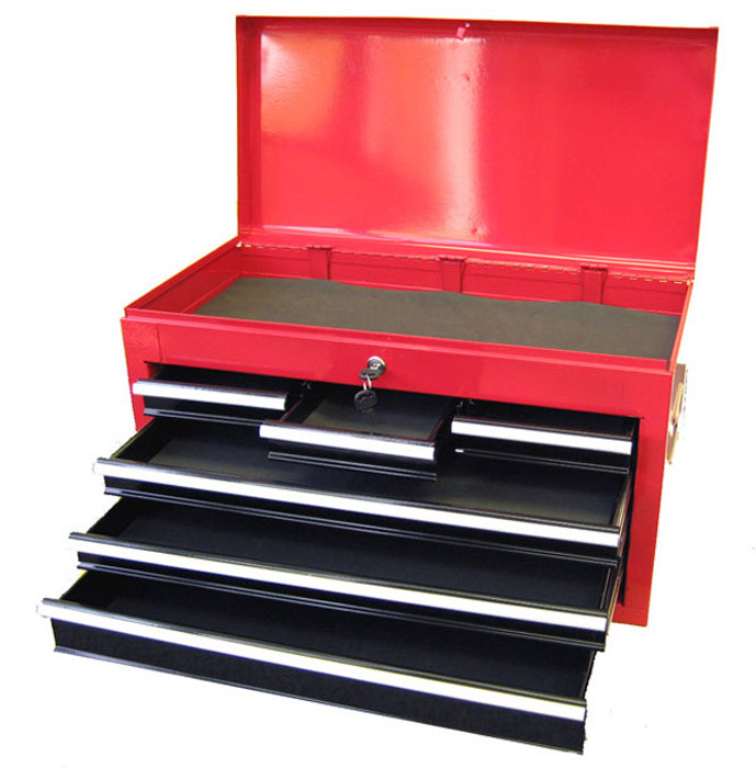 "Excel 26"" Steel top chest with 6 ball bearing slide drawers"