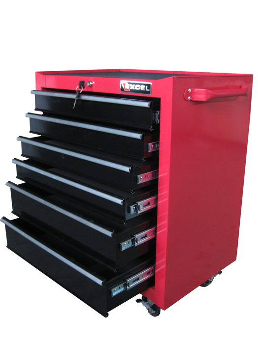 """Excel 26"""" Steel roller cabinet with 6 ball bearing slide drawers"""