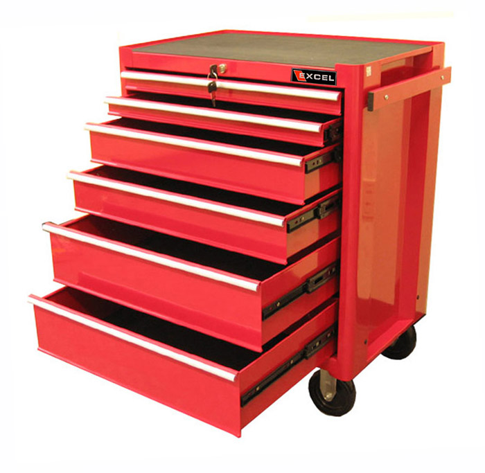 """Excel 27"""" Steel roller cabinet with 6 ball bearing slide drawers"""