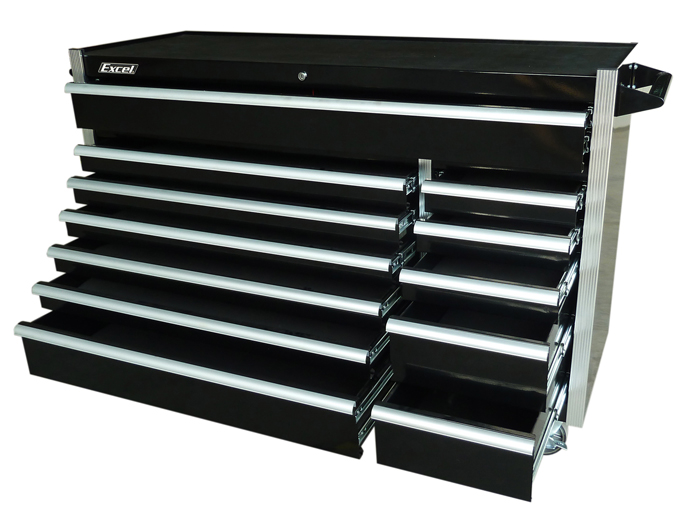 "Excel 56"" Steel Roller Cabinet with 12 Bbs Drawers"