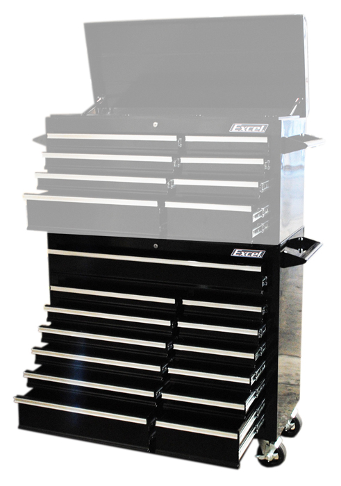 "Excel 42"" Steel roller cabinet with 13 ball bearing slide drawers"