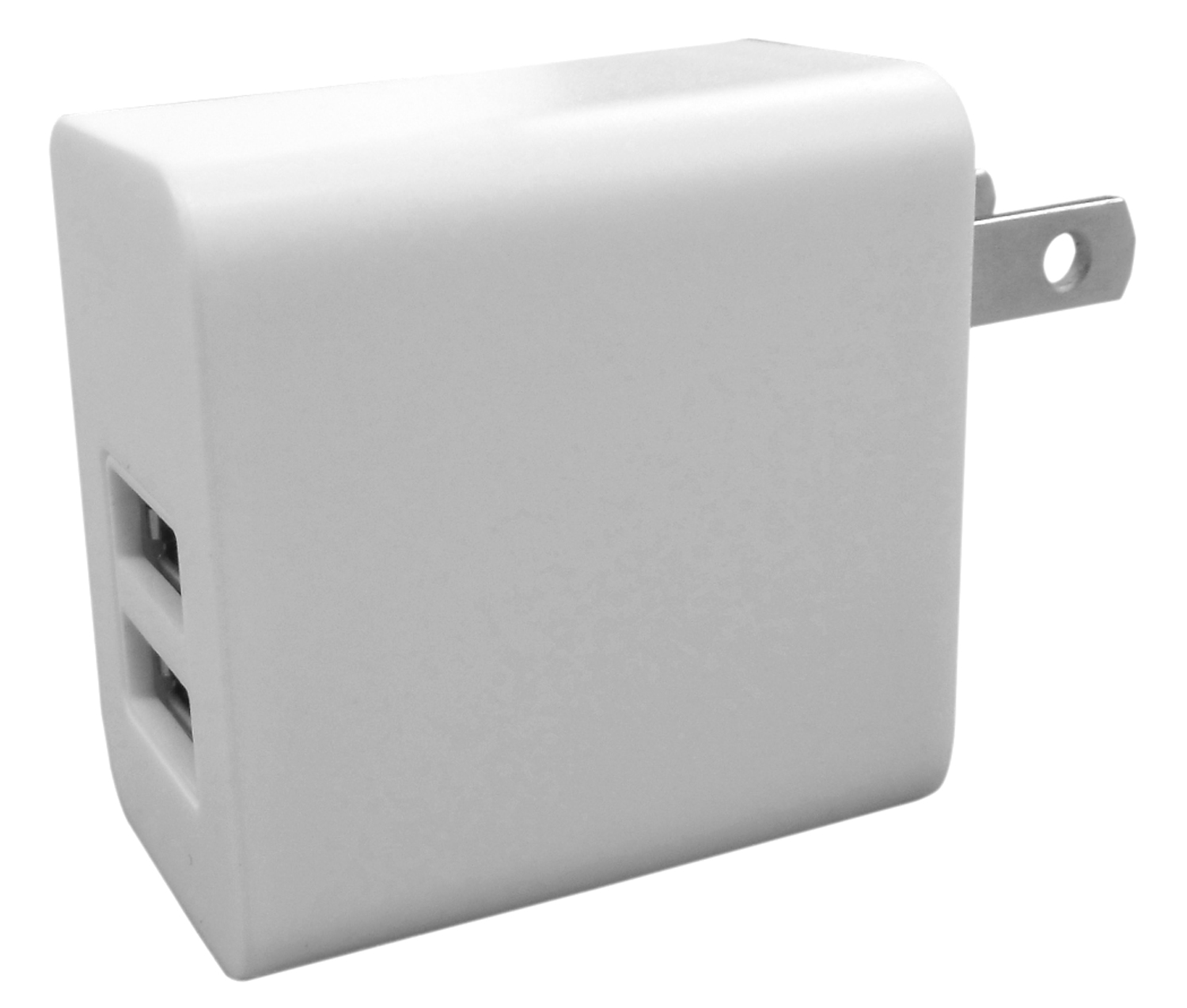 WHITE AC CHARGER WITH TWO USB PORTS. CHARGES SMALL ELECTRONICS THAT USE USB CABLE