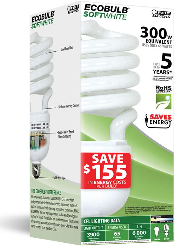 65W Compact Fluorescent High Wattage Bulb