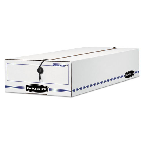 LIBERTY Basic Storage Box, Check/Voucher, 9 x 14 1/4 x 4, White/Blue, 12/Carton