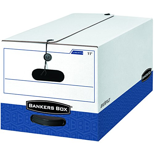 LIBERTY Heavy-Duty Strength Storage Box, Letter, 12 x 24 x 10, White/Blue, 12/CT