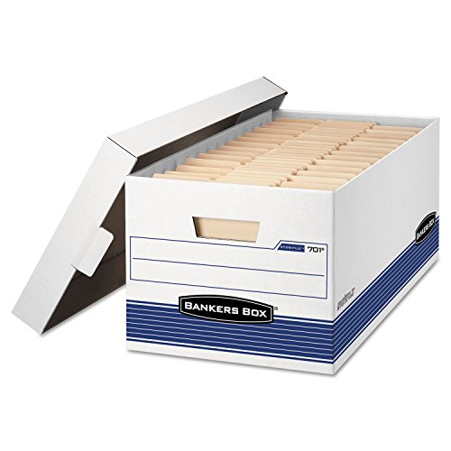STOR/FILE Storage Box, Letter, Locking Lid, White/Blue, 4/Carton