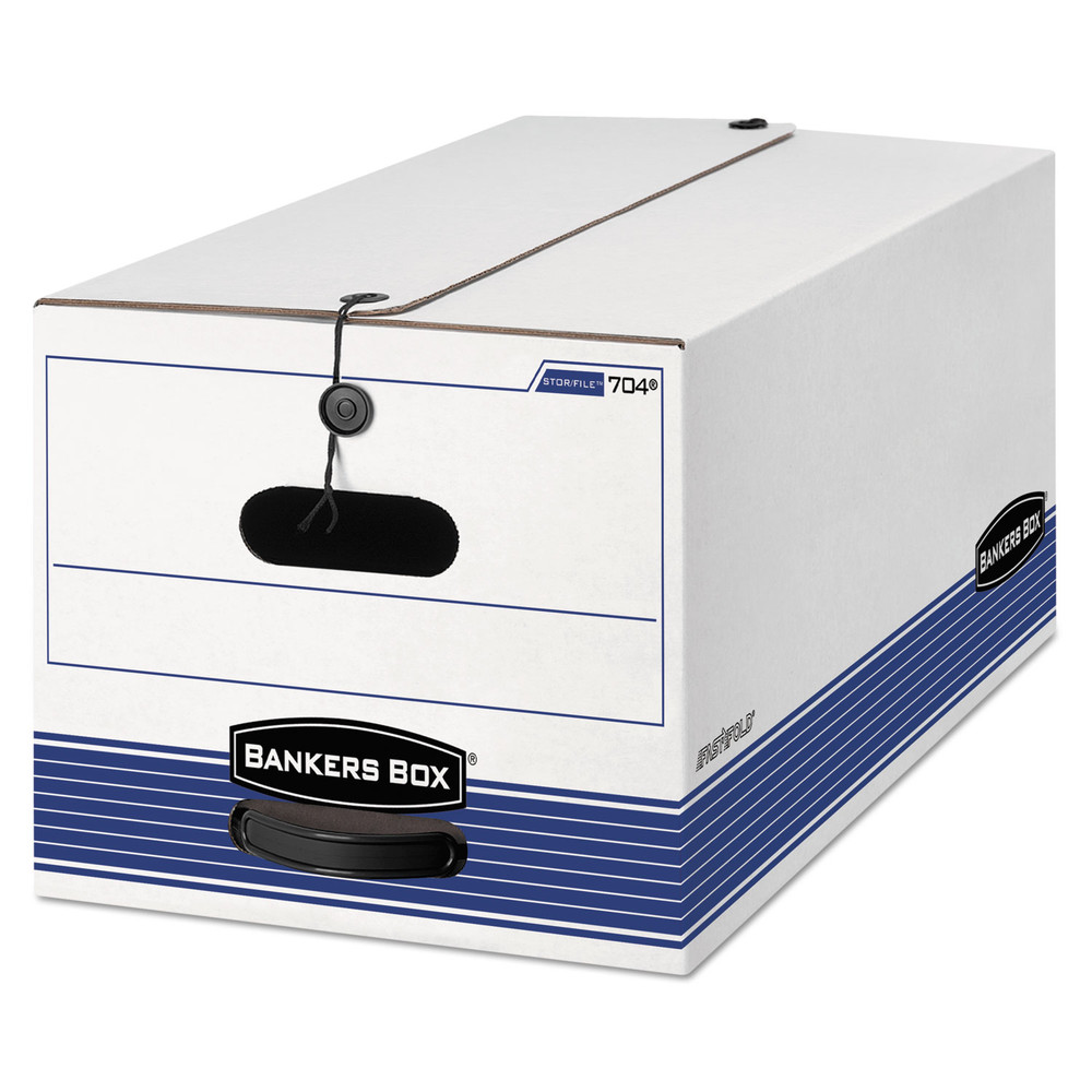 STOR/FILE Storage Box, Letter, String and Button, White, 4/Carton