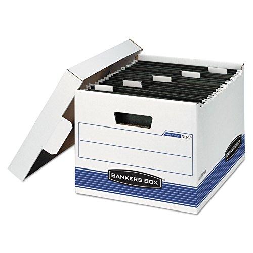 HANG'N'STOR Storage Box, Letter, Lift-off Lid, White/Blue, 4/Carton