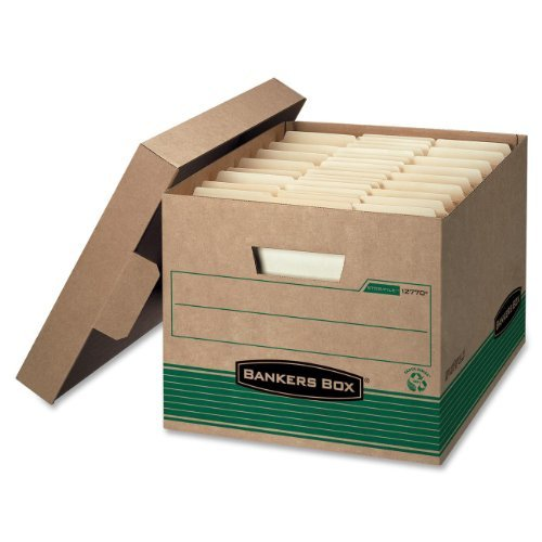 STOR/FILE Extra Strength Storage Box, Letter/Legal, Kraft/Green, 12/Carton