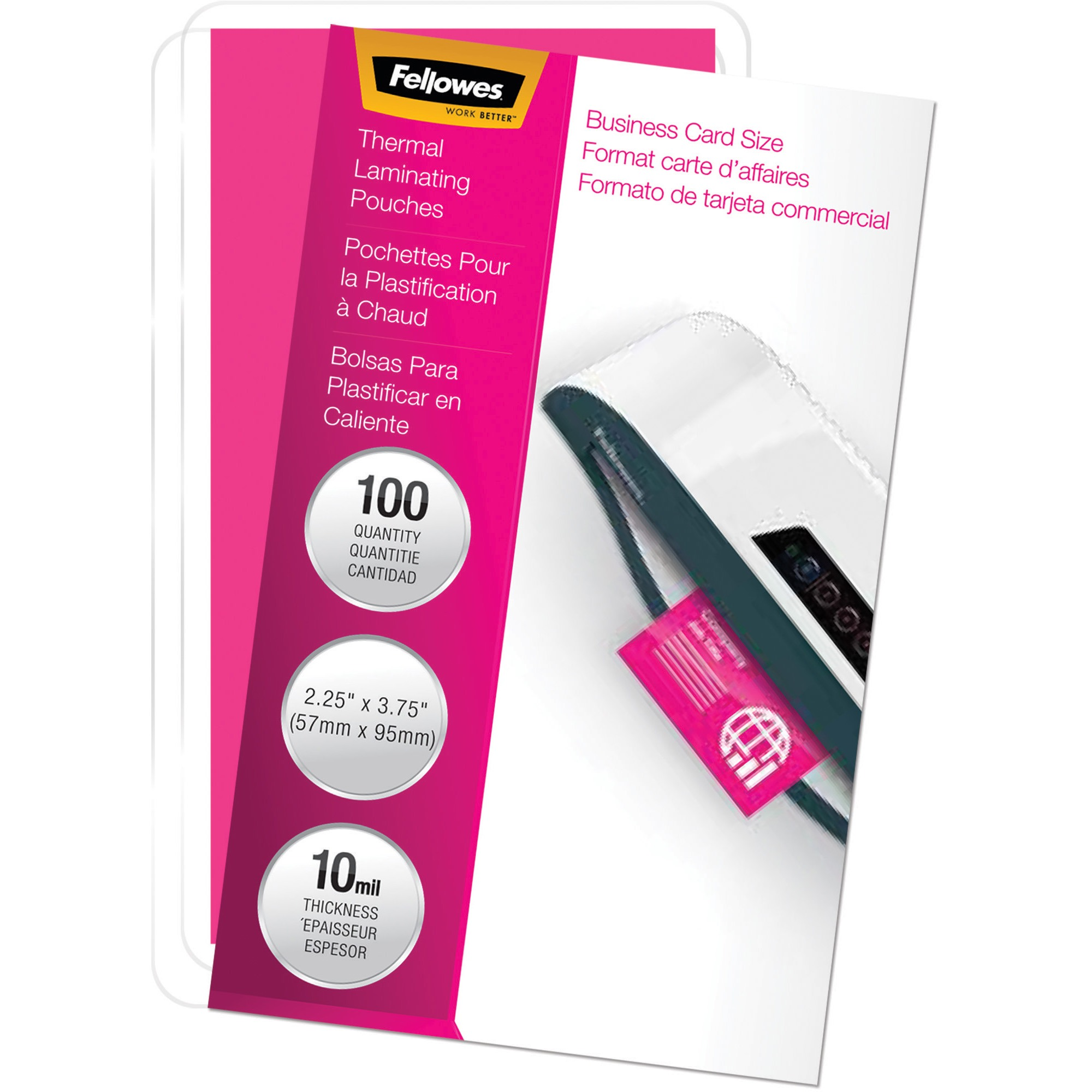 Laminating Pouch, 10mil, 2 1/4 x 3 3/4, Business Card Size, 100/Pack