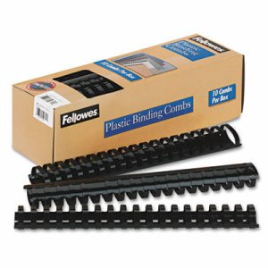 "Plastic Comb Bindings, 1-1/2"" Diameter, 340 Sheet Capacity, Black, 10 Combs/Pack"