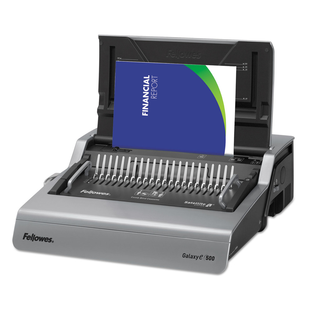 Galaxy Electric Comb Binding System, 500 Sheets, 19 5/8 x 17 3/4 x 6 1/2, Gray