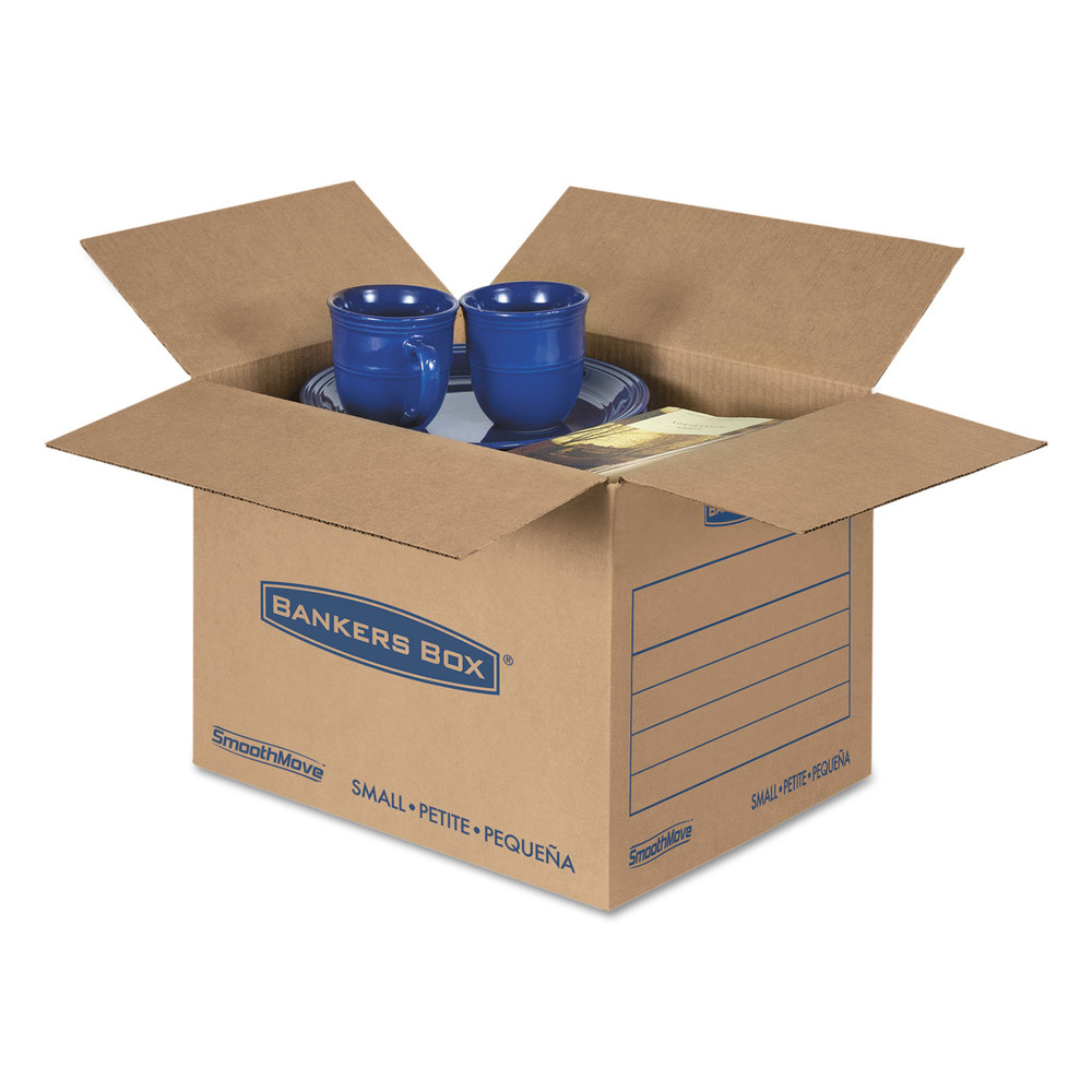 SmoothMove Basic Small Moving Boxes, 16l x 12w x 12h, Kraft/Blue, 25/BD