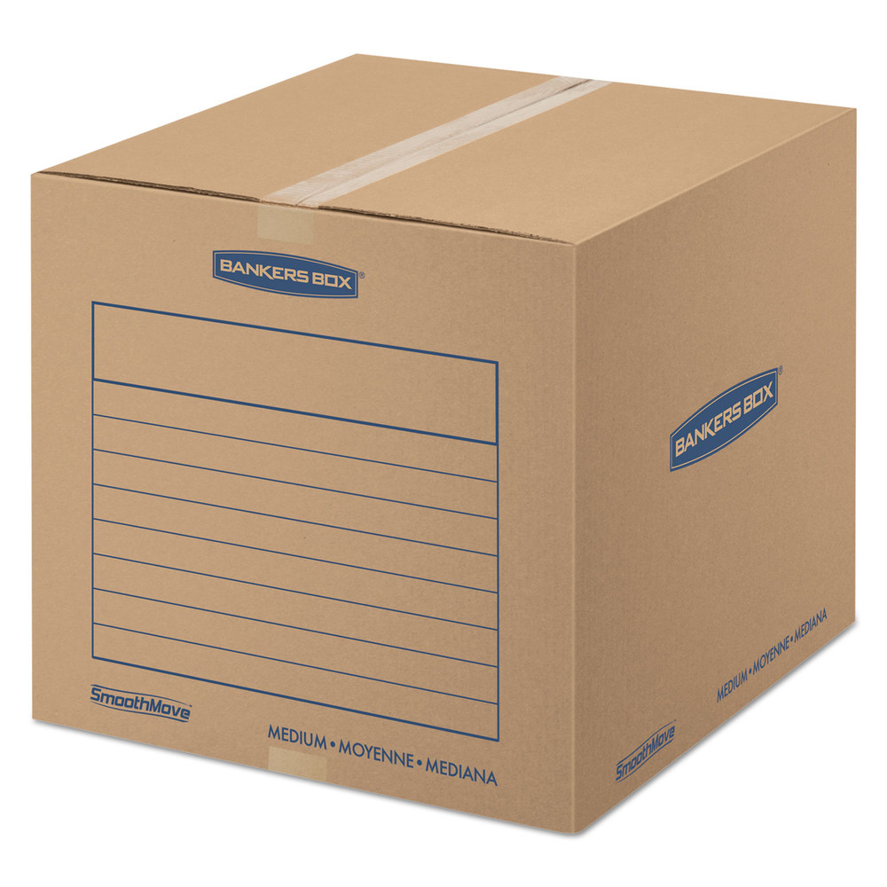 SmoothMove Basic Medium Moving Boxes, 18l x 18w x 16h, Kraft/Blue, 20/BD