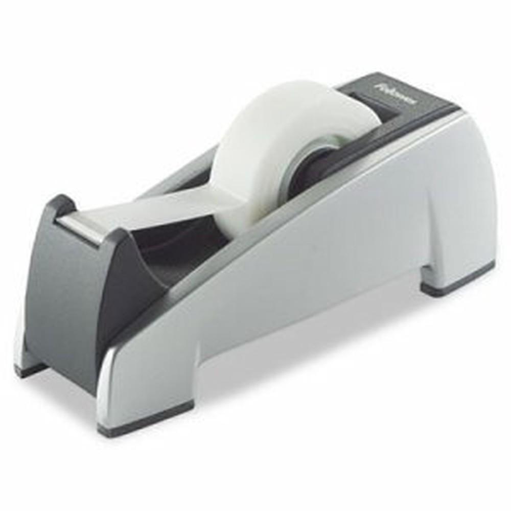 """Office Suites Desktop Tape Dispenser, 1"""" Core, Plastic, Heavy Base, Black/Silver"""