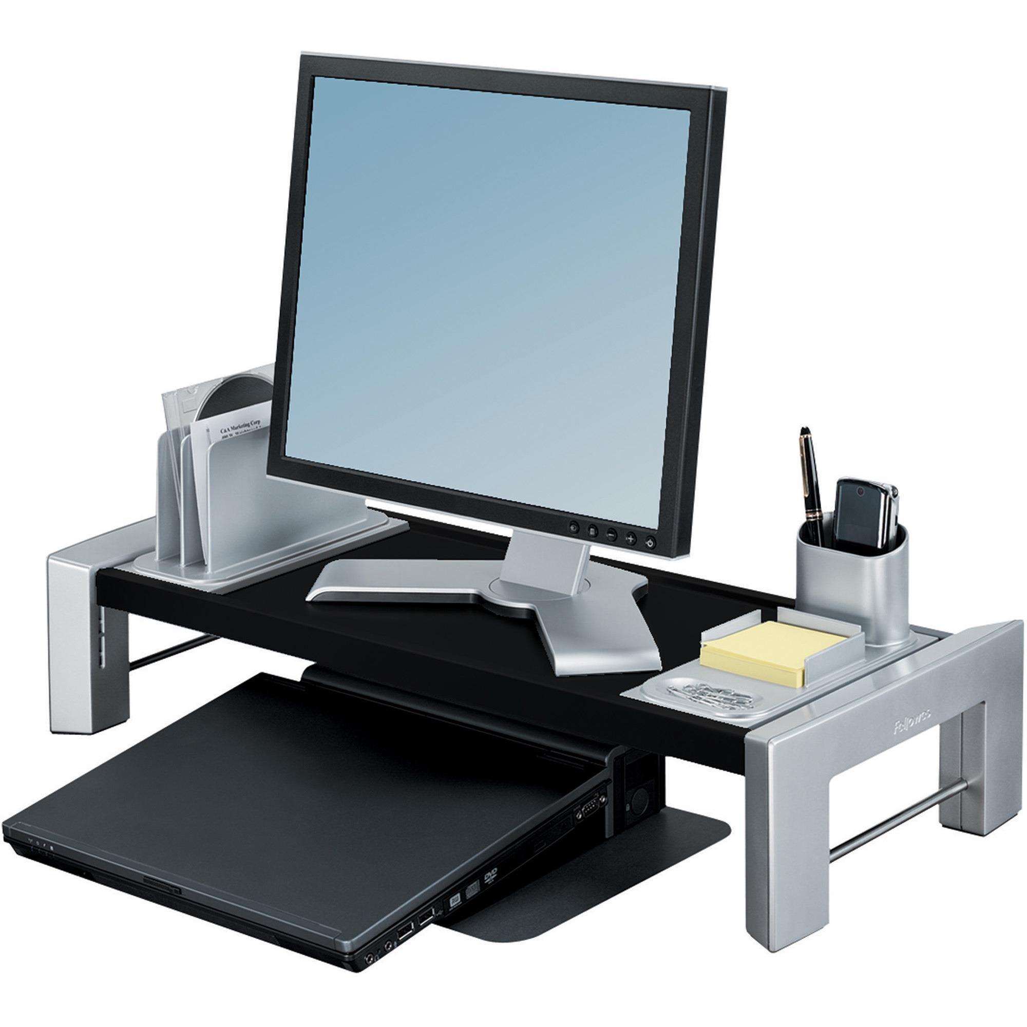 Professional Series Flat Panel Workstation, 25 7/8 x 11 1/2 x 4 1/2,Black/Silver