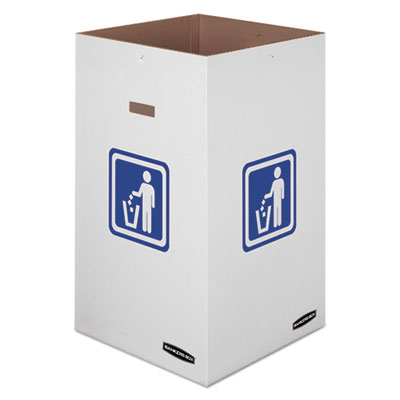 "Waste and Recycling Bin, 42 gal, 18"" x 18"" x 30"", White, 10/Carton"