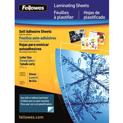 "FELLOWES 5221502 9"" x 12"" Self-Adhesive Laminating Sheets, 50 pk"