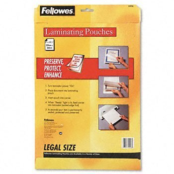 FELLOWES 52226 Glossy Legal Document Laminating Pouches, 50 pk