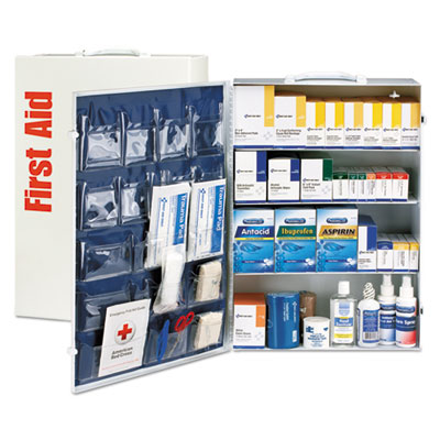 ANSI Class B+ 4 Shelf First Aid Station with Medications, 1437 Pieces