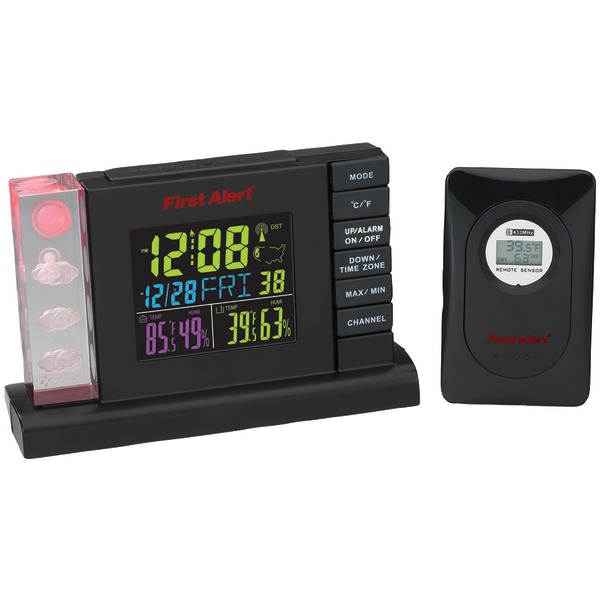 FIRST ALERT SFA2650 Radio-Controlled Weather Station Alarm Clock with Wireless Sensor