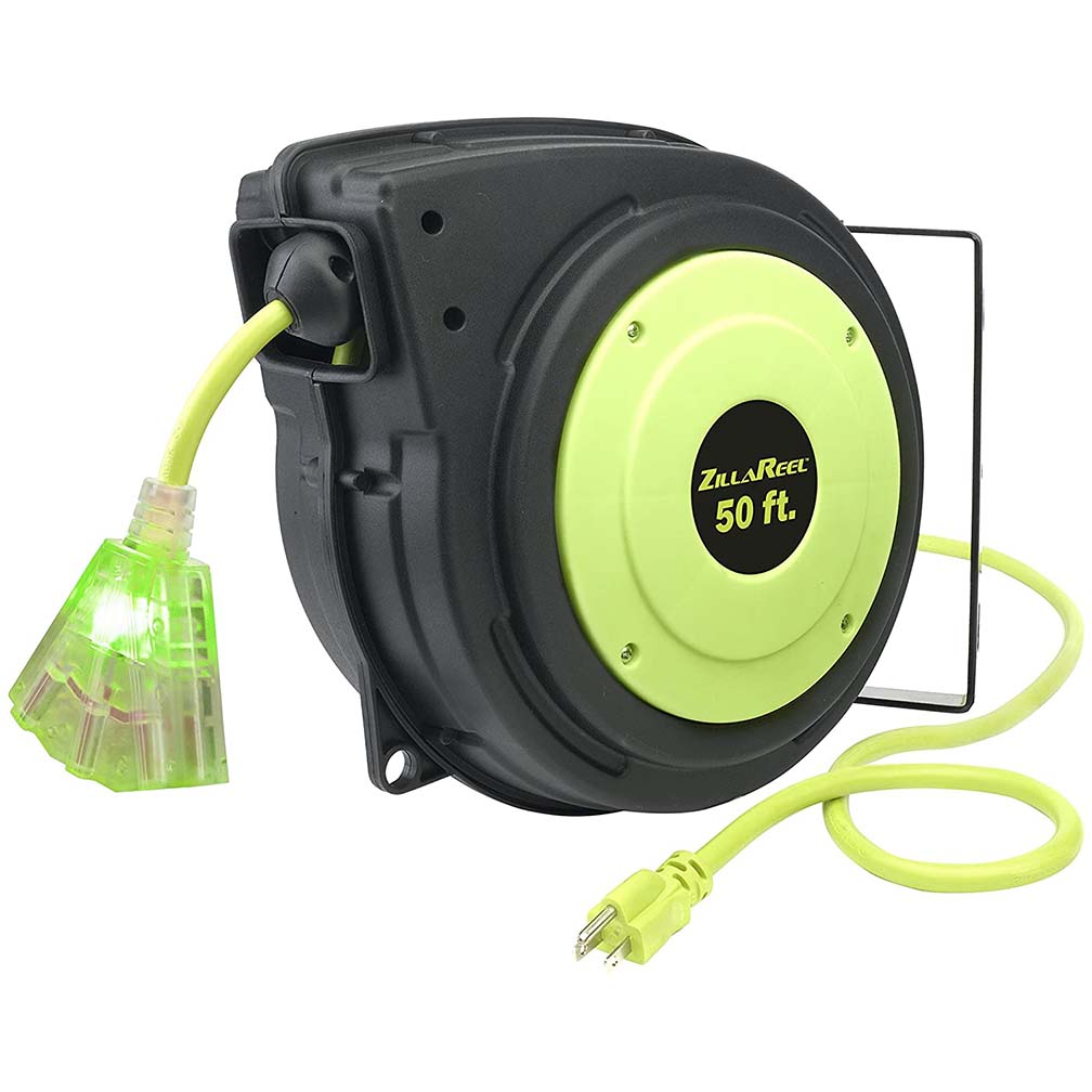 Flexzilla Extension Cord Reel 50' 14/3 AWG SJTOW Grounded Triple Tap Outlet Indoor/Dry Locations