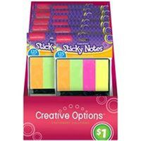Creative Options 9871 Folding Sticky Note, 125 Sheet, Assorted