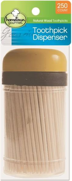 Hometown Gourmet 6081 Toothpick Dispenser, Natural Wood
