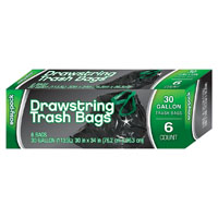BAGS TRASH W/DRWSTG 6CT 30G