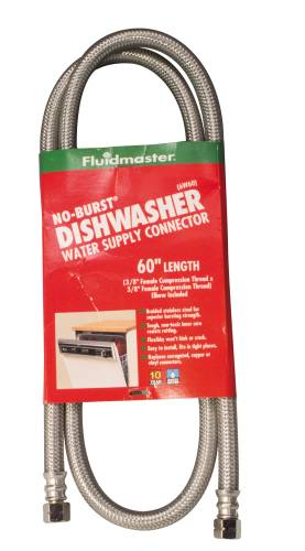 "FLUIDMASTER� NO-BURST� DISHWASHER WATER SUPPLY CONNECTOR, 3/8"" COMPRESSION X 3/8"" FIP, 60"""