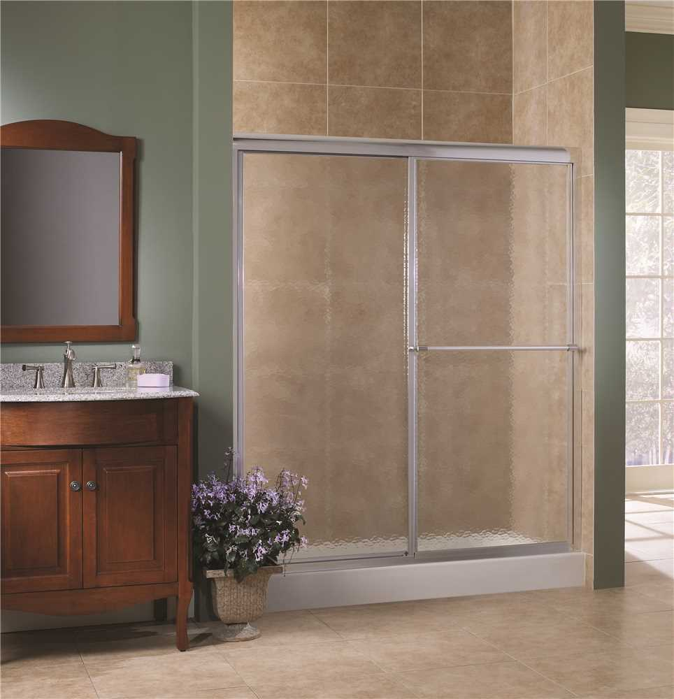FOREMOST� TIDES SLIDING SHOWER DOOR, 5/32 IN. OBSCURE GLASS, 44-48 IN. W. X 70 IN. H., SILVER
