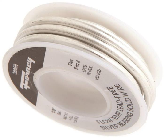 Forney 38050 Solid Core Solder, 1/4 lb Roll, Solid, Gray