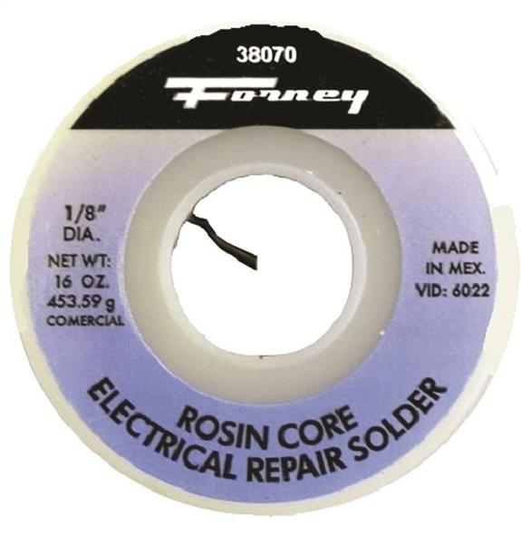 Forney 38070 Rosin Core Solder, 1 lb Roll, Solid, Gray