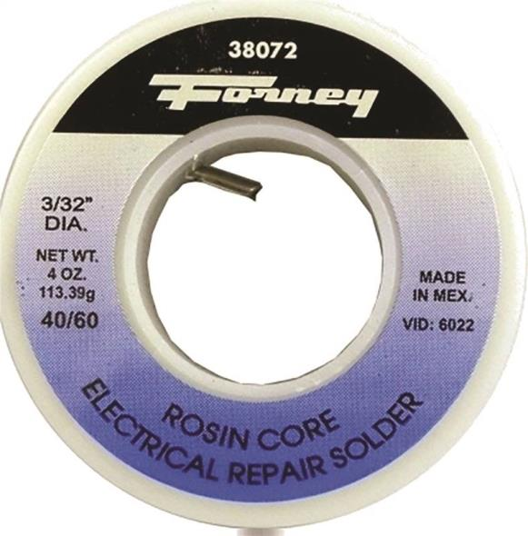 Forney 38072 Rosin Core Solder, 1/4 lb Roll, Solid, Gray