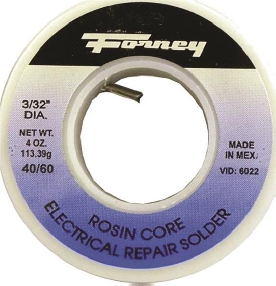 Forney 38073 Rosin Core Solder, 1/4 lb Roll, Solid, Gray