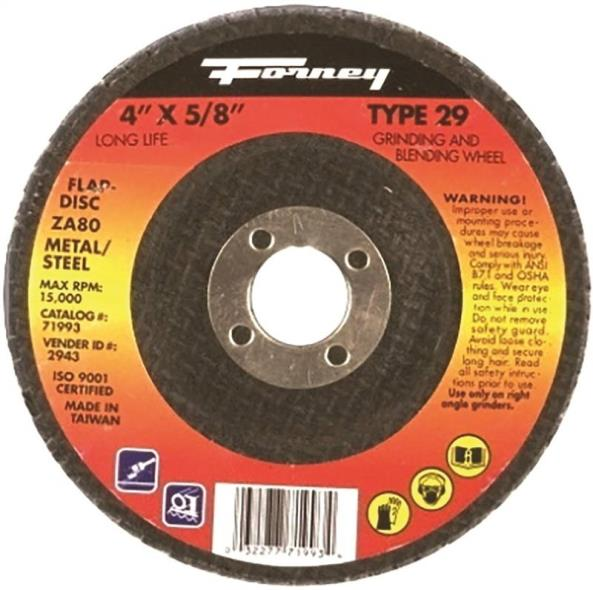Forney Industries 71993 Type 29 Circular Shape Depressed Center Flap Disc, 4 in Dia, 80 Grit, 5/8 in Shank