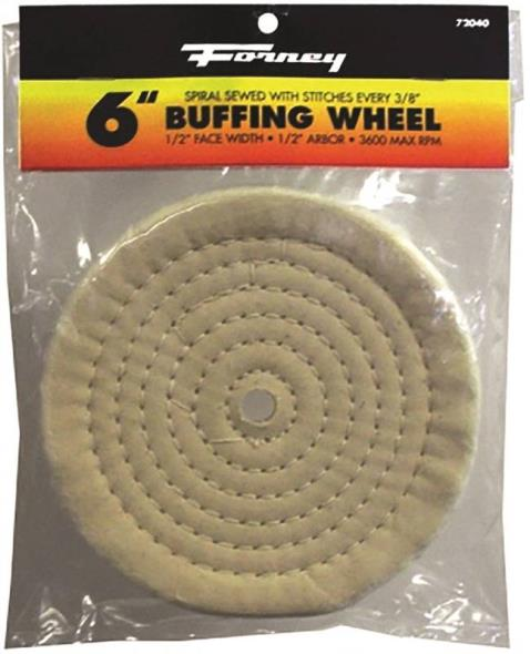 Forney Industries 72040 Circular Shape Spiral Sewn Style Buffing Wheel, 6 in Dia x 1/2 in T, 1/2 in Arbor