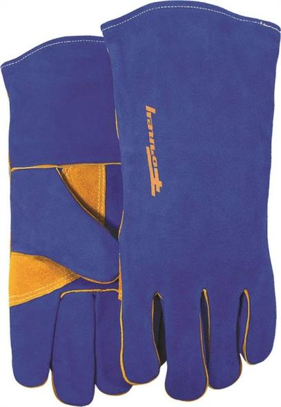 Forney 53423 Industrial Premium Welding Gloves, Men?s, X-Large, Kevlar, Blue/Gold, Cotton Interlock Lining
