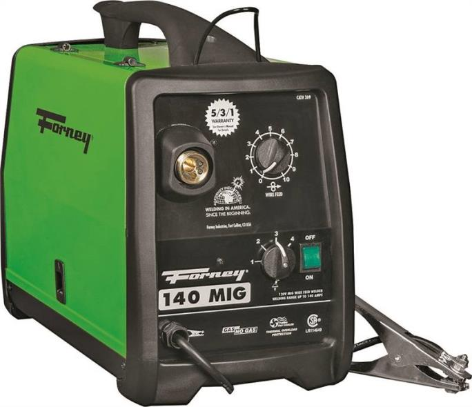 Forney Industries 309 Wire-Feed MIG Welder, 120 V Input, 30 - 140 A Input, 115 A At 20% Duty Cycle Output, Metal