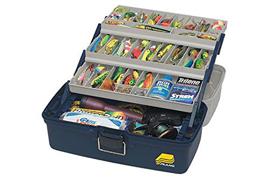 Frabill Three-Tray Fixed Compartment Tackle Box - Xtra Large -  Blue/Silver