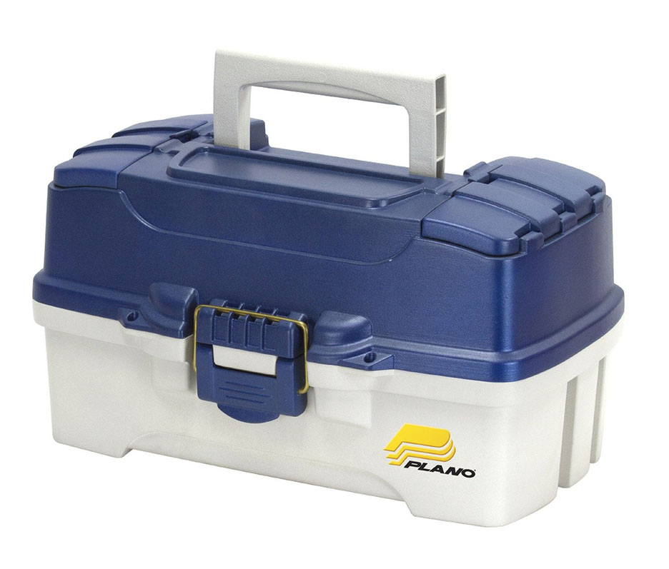 FrabillTwo-Tray Blue Tackle Box - Blue Metallic/Off-White