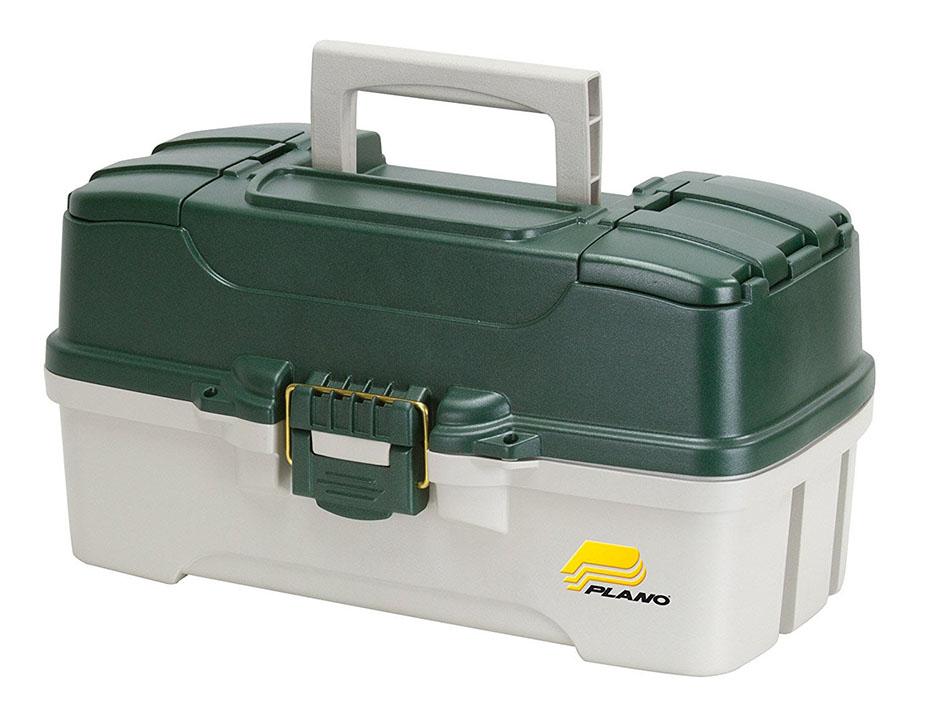 Frabill Three-Tray Green Tackle Box -Green Metallic/Off-White