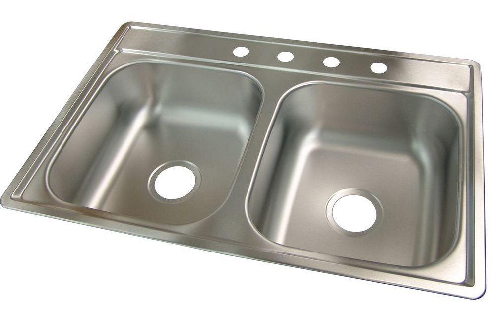 33X22X7 Double Bowl Stainless Steel Sink