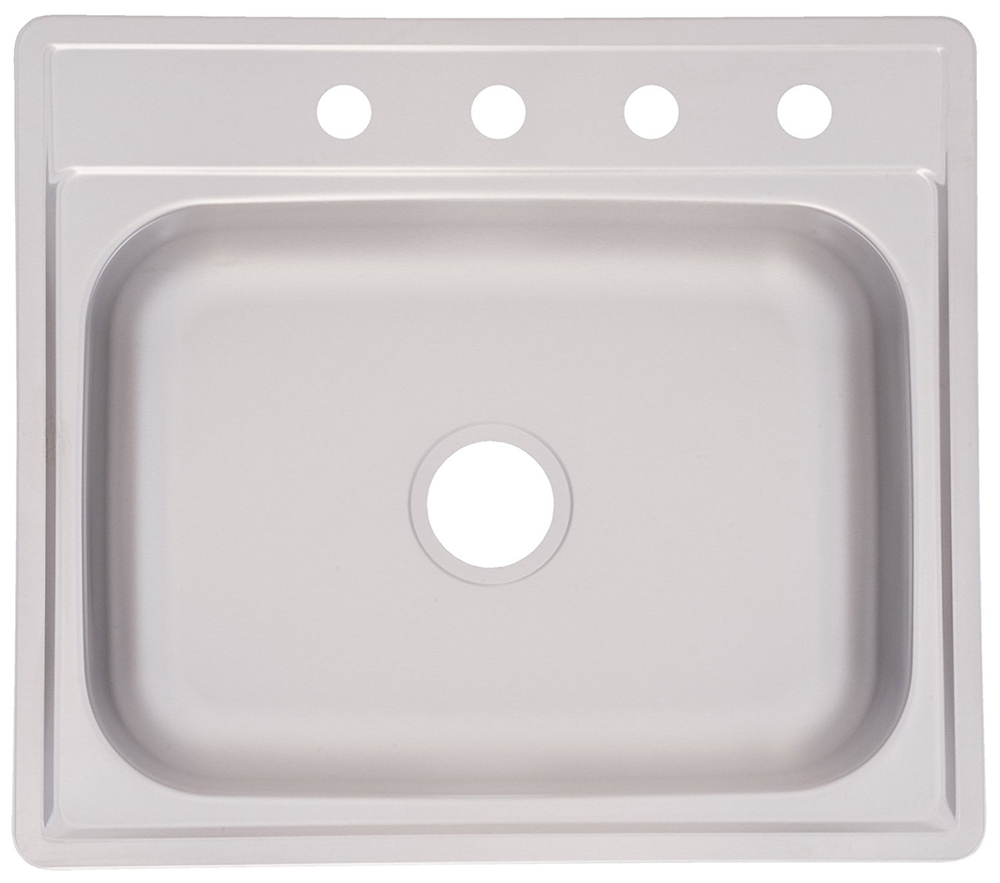 "7"" Topmount 4 Holes Stainless Steel Kitchen Sink, Satin"