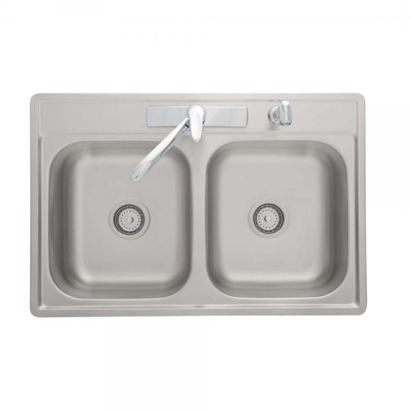 Stainless Steel Double Bowl Sink Kit with Chrome Faucet, Side Spray And Strainers, Satin